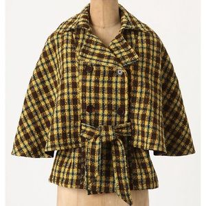 Anthropologie plaid belted cape/capelet